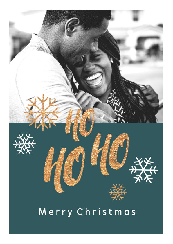 Kerstkaarten - Kerstkaart met speelse tekst en eigen foto