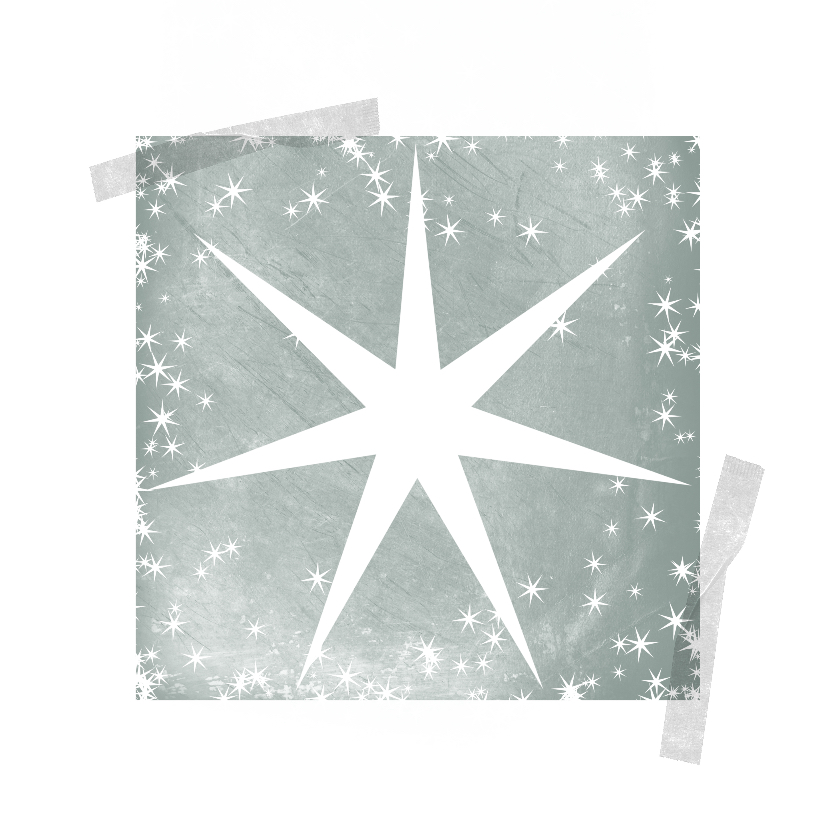 Kerstkaarten - Kerstkaart met ster op groengrijze achtergrond