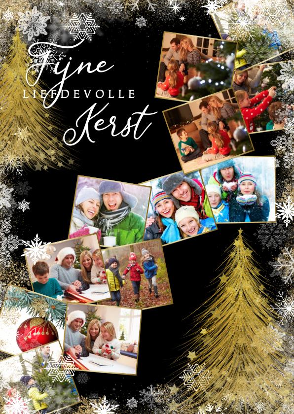 Kerstkaarten - Kerstkaart met sterren en collage van 12 foto's