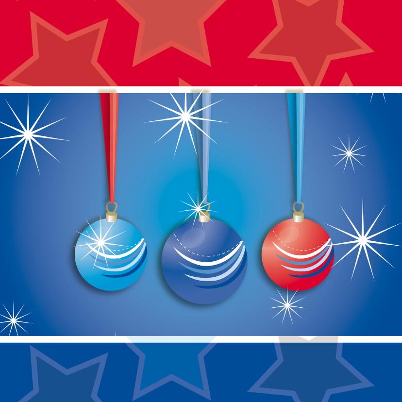Kerstkaarten - Kerstkaart met sterren en kerstballen