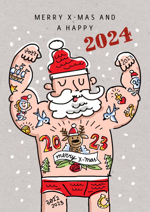 Kerstkaarten - Kerstkaart met tattoo kerstman