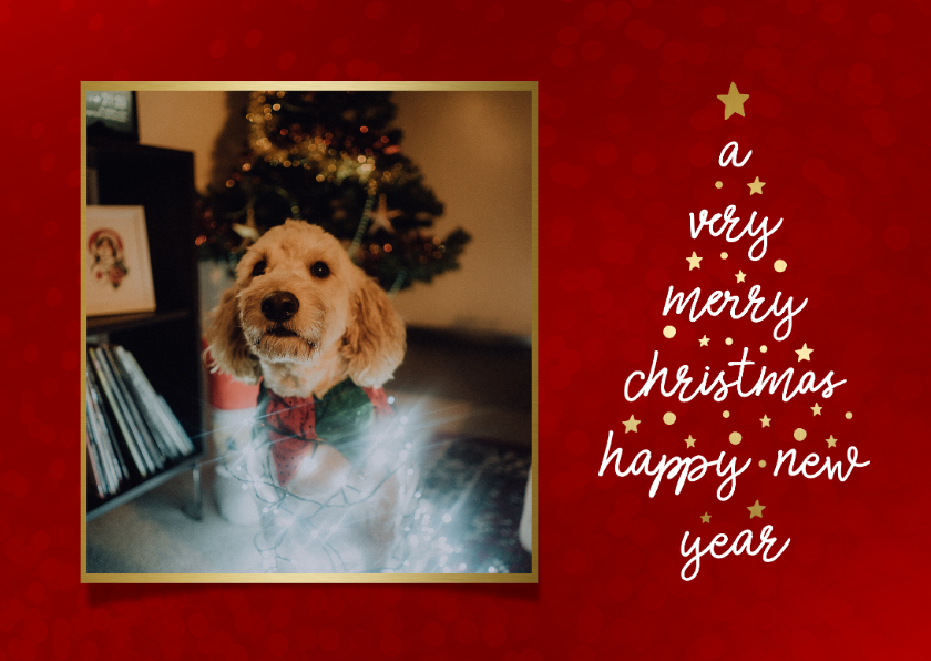 Kerstkaarten - Kerstkaart met typografische kerstboom en foto