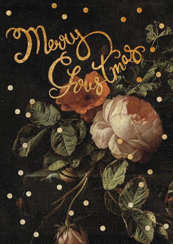 Kerstkaarten - Kerstkaart met vintage bloemen en gouden stippen.