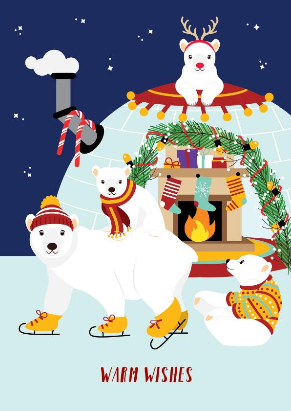 Kerstkaarten - Kerstkaart met vrolijke ijsberen in kerstiglo