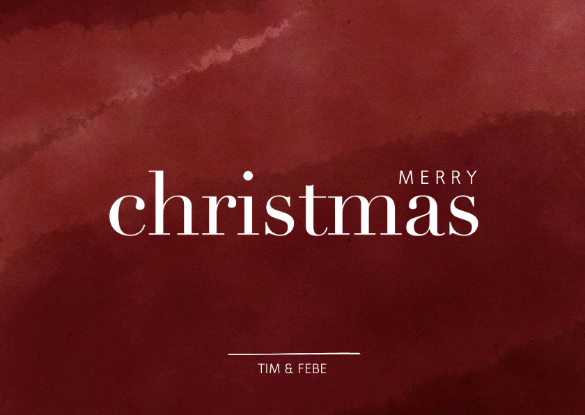 Kerstkaarten - Kerstkaart met waterverf en merry christmas