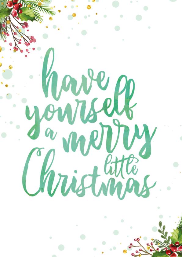 Kerstkaarten - Kerstkaart met waterverf tekst ' a merry little christmas'