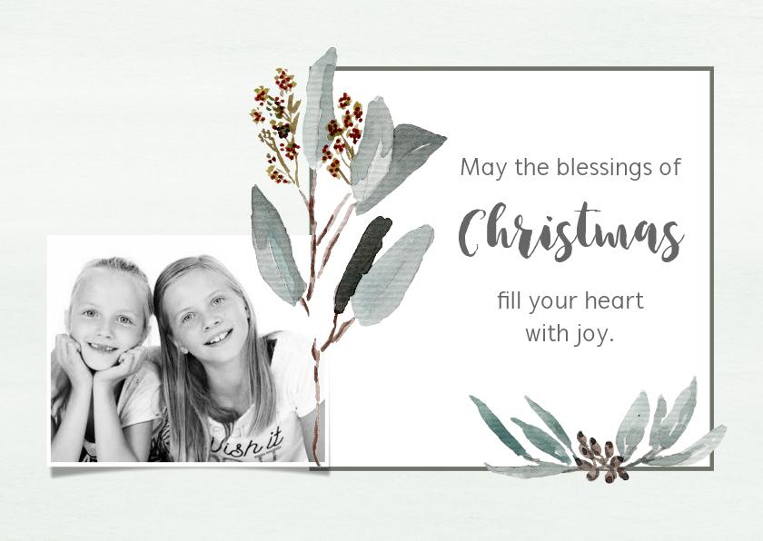 Kerstkaarten - Kerstkaart mint takjes met foto