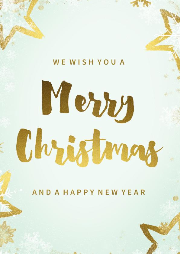 Kerstkaarten - Kerstkaart mintgroen goud kader 'Merry Christmas'