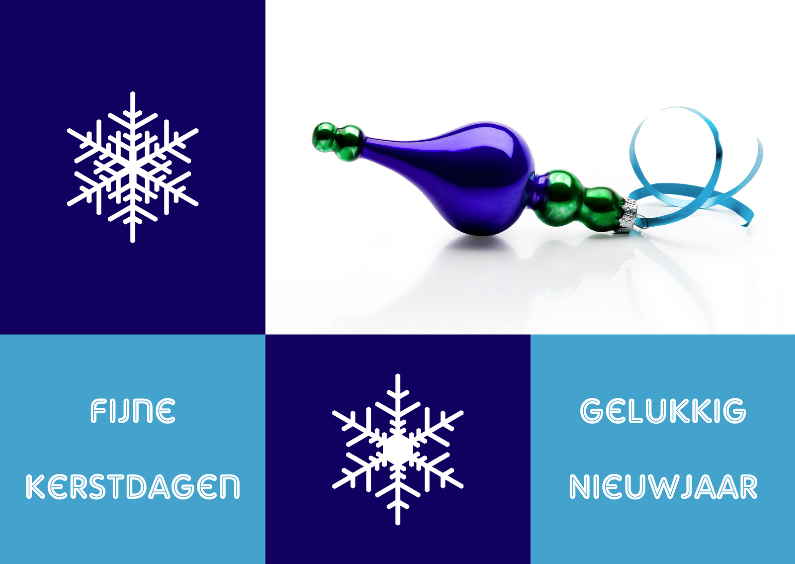 Kerstkaarten - Kerstkaart modern blauw - OT
