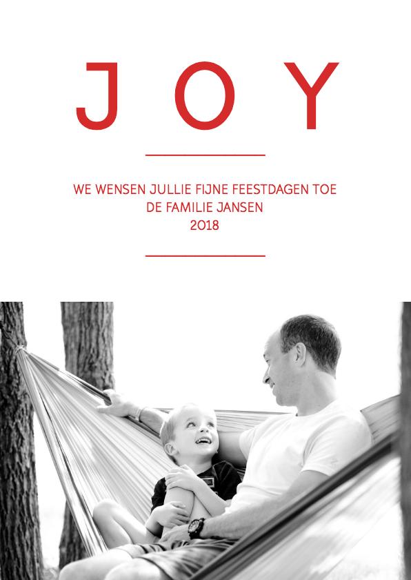 Kerstkaarten - Kerstkaart modern Joy, Love & dennen naalden