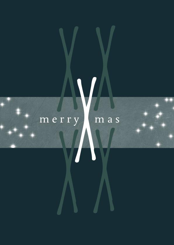 Kerstkaarten - Kerstkaart modern, merry Xmas. X als patroon en sterretjes