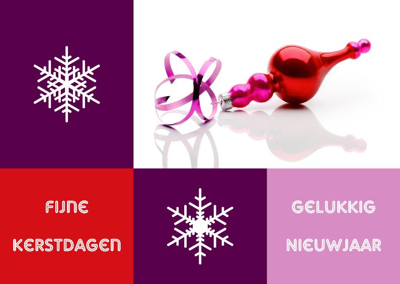 Kerstkaarten - Kerstkaart modern met kerstbal rood - OT