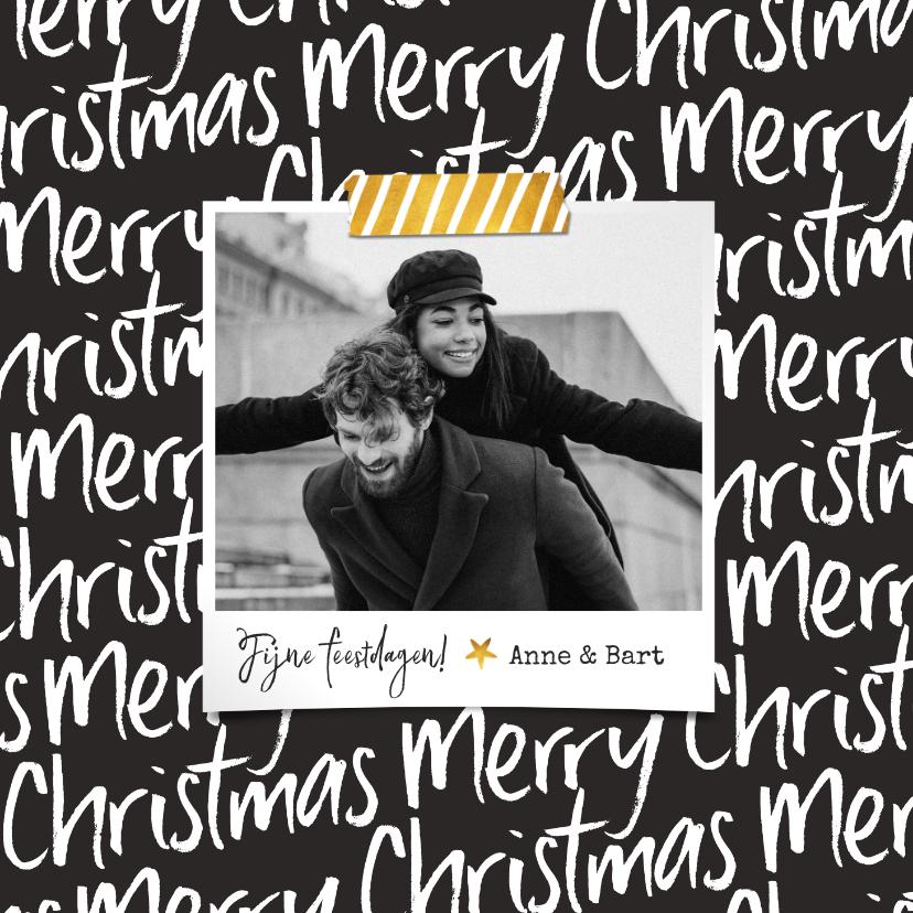 Kerstkaarten - Kerstkaart modern typografisch foto merry christmas