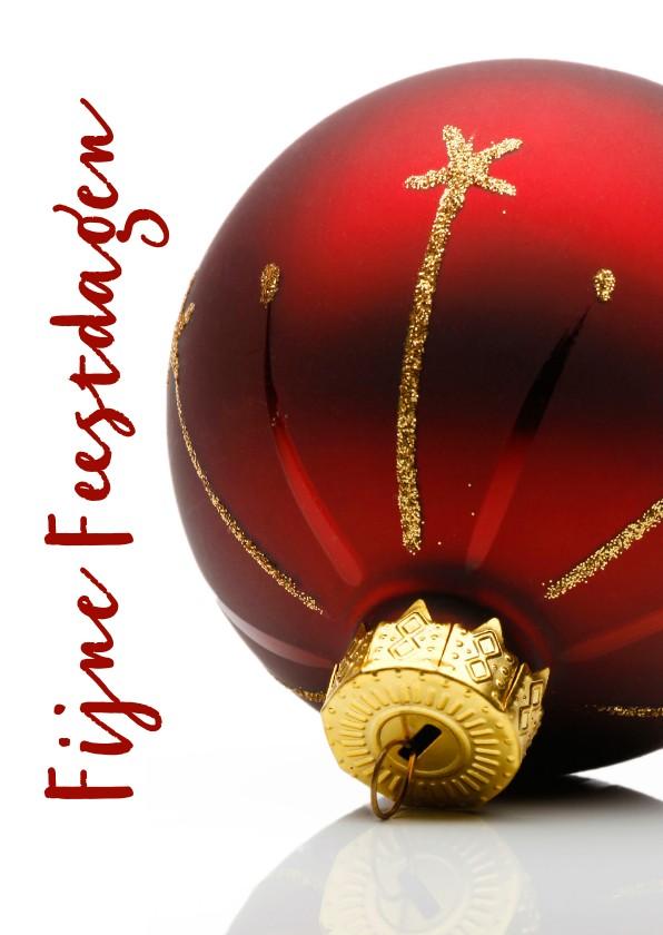 Kerstkaarten - Kerstkaart mooie rode kerstbal