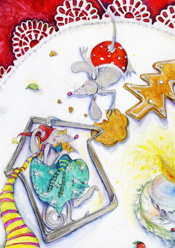 Kerstkaarten - Kerstkaart muizen kerstkaart 3