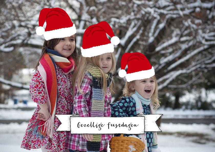 Kerstkaarten - Kerstkaart mutsen eigen foto