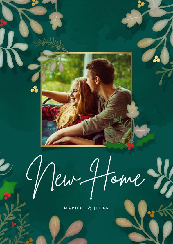 Kerstkaarten - Kerstkaart New Home Botanisch - een gouden kerst