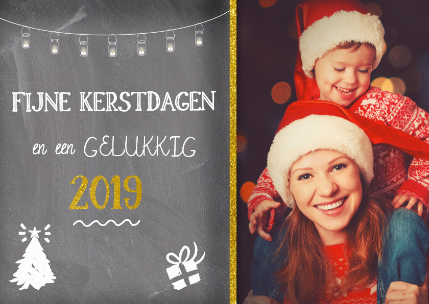 Kerstkaarten - Kerstkaart op krijtbord met een eigen foto