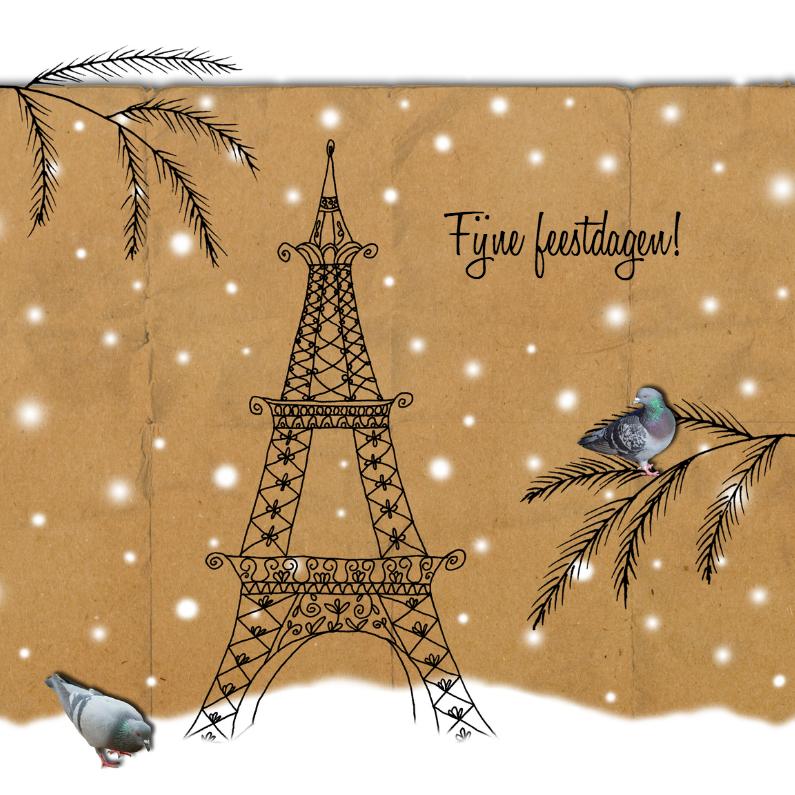Kerstkaarten - Kerstkaart Parijs vintage-HR