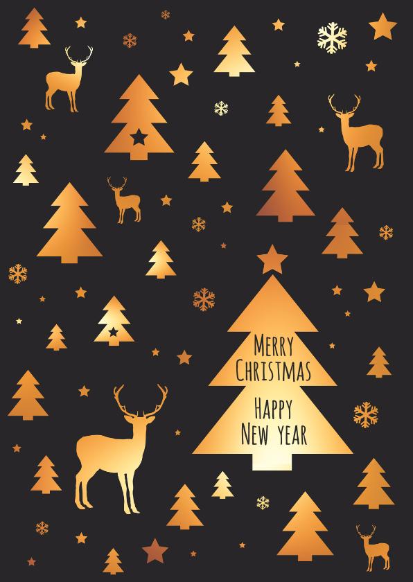 Kerstkaarten - Kerstkaart patroon kerstboom, rendier, ster