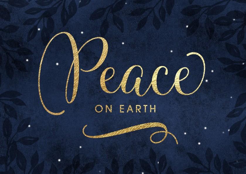 Kerstkaarten - Kerstkaart Peace on earth goud donker blauw