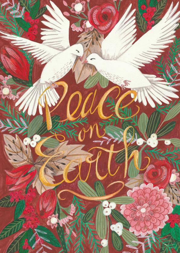 Kerstkaarten - Kerstkaart Peace on Earth illustratie