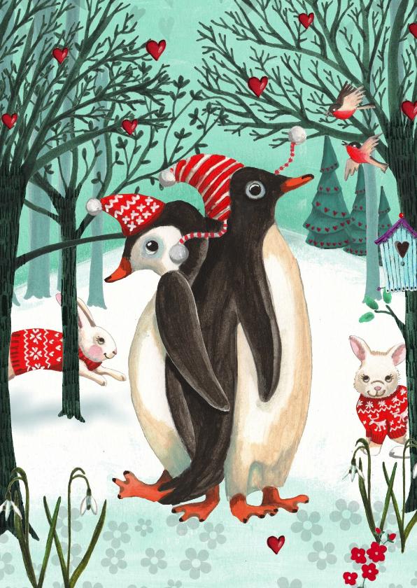 Kerstkaarten - Kerstkaart Penguins in het bos