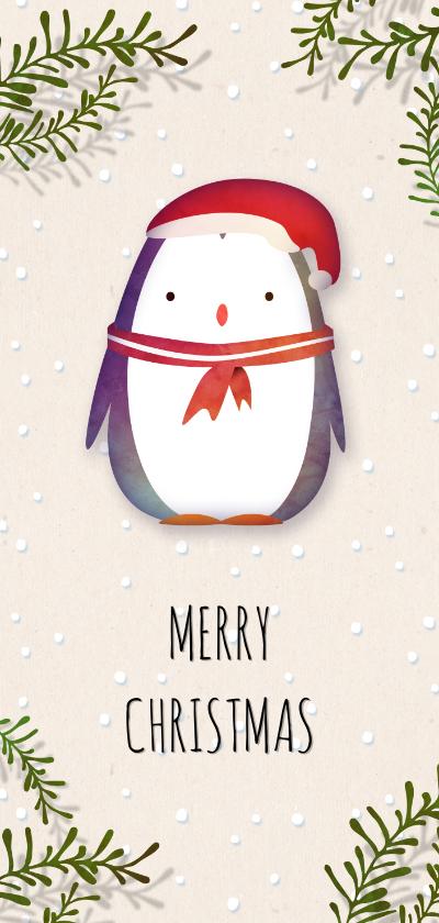 Kerstkaarten - Kerstkaart pinguïn met kerstmuts