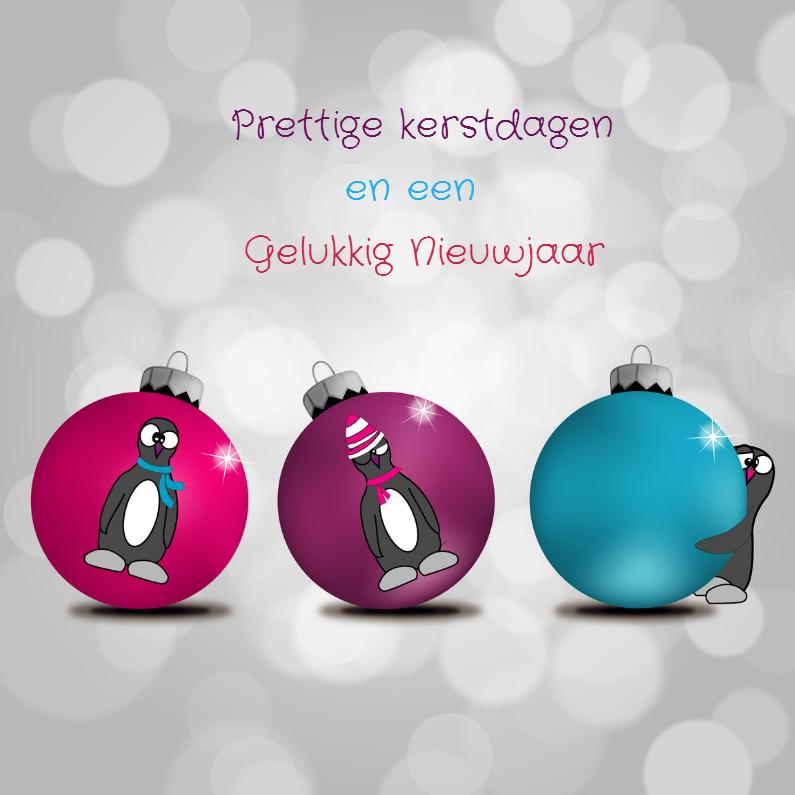 Kerstkaarten - Kerstkaart pinguins met ballen