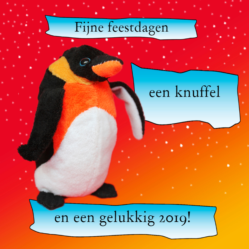Kerstkaarten - Kerstkaart pluchen pinguïn
