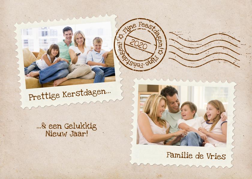 Kerstkaart Postkaart Stempel Twee Fotos 1