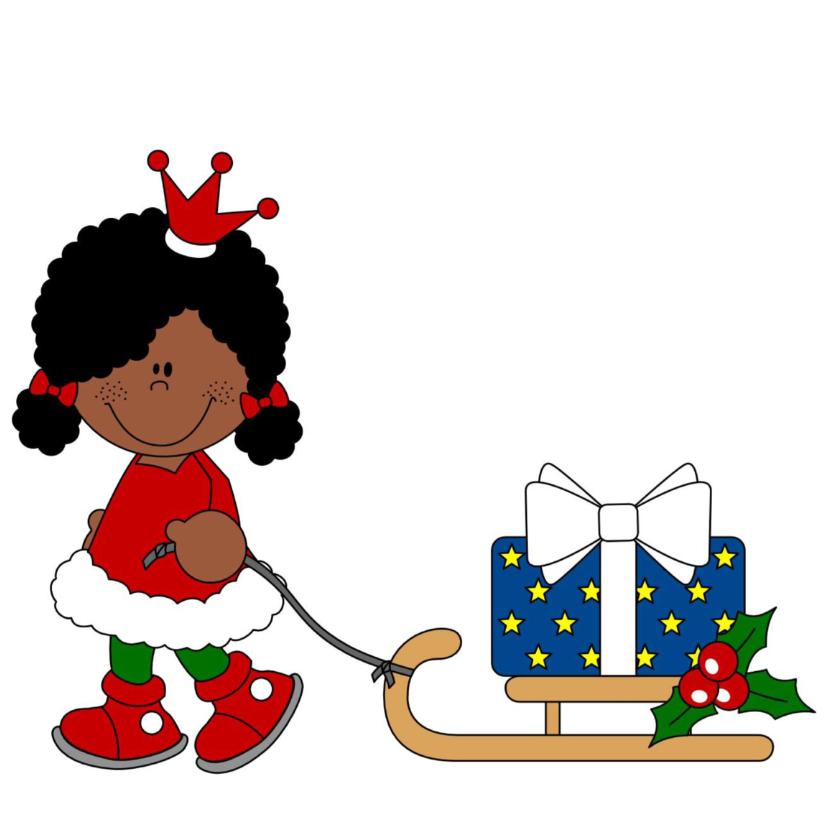 Kerstkaarten - Kerstkaart prinsesje met slee!