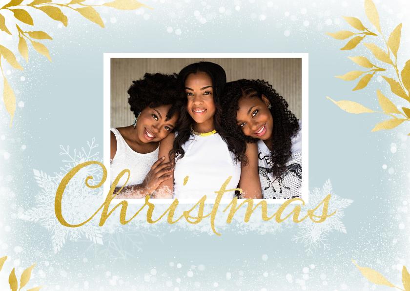 Kerstkaarten - Kerstkaart rechthoek met foto en gouden takken