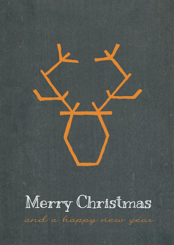 Kerstkaarten - Kerstkaart Rendier getekend