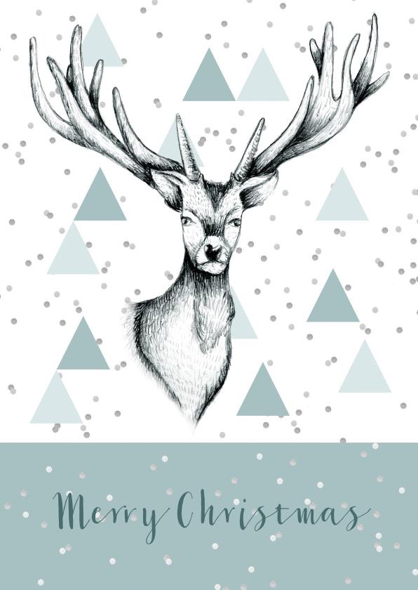 Kerstkaarten - Kerstkaart rendier grafisch stijlvol
