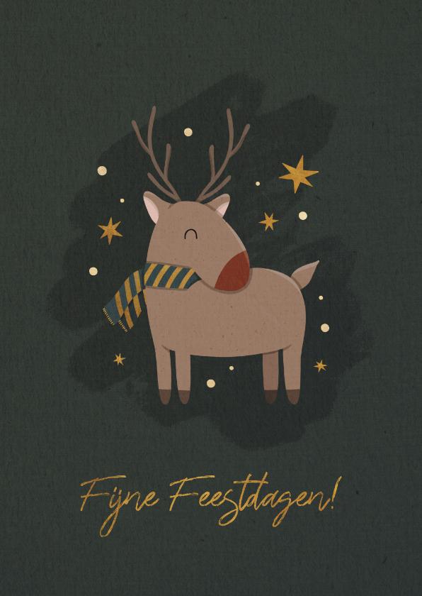 Kerstkaarten - Kerstkaart rendier met sterren en fijne feestdagen
