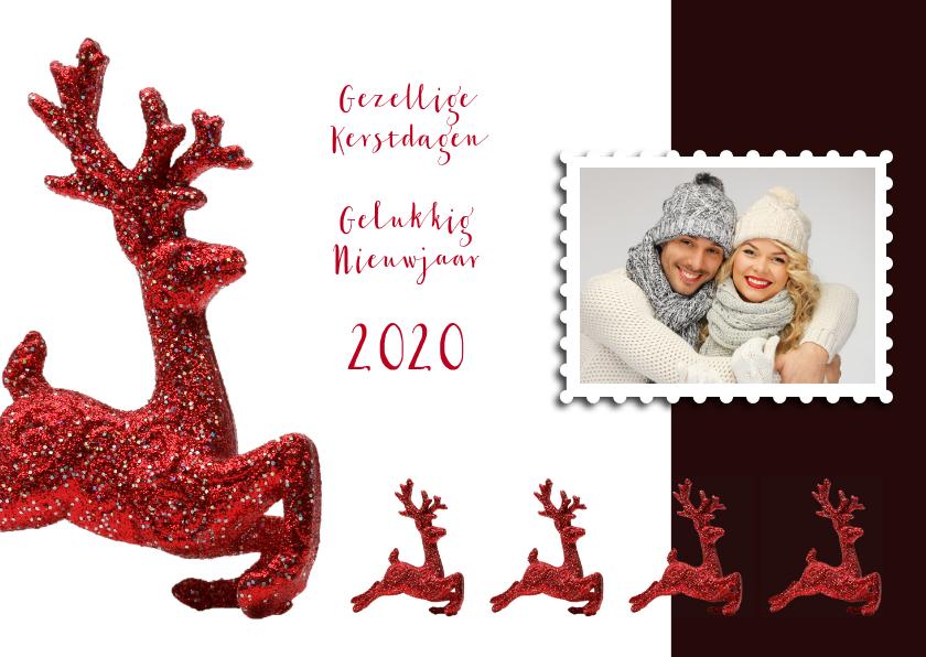 Kerstkaarten - Kerstkaart rendier rood eigen foto 2020