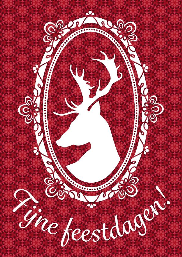Kerstkaarten - Kerstkaart rendier wit