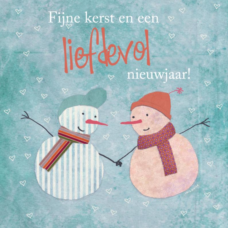 Kerstkaarten - Kerstkaart retro sneeuwpop