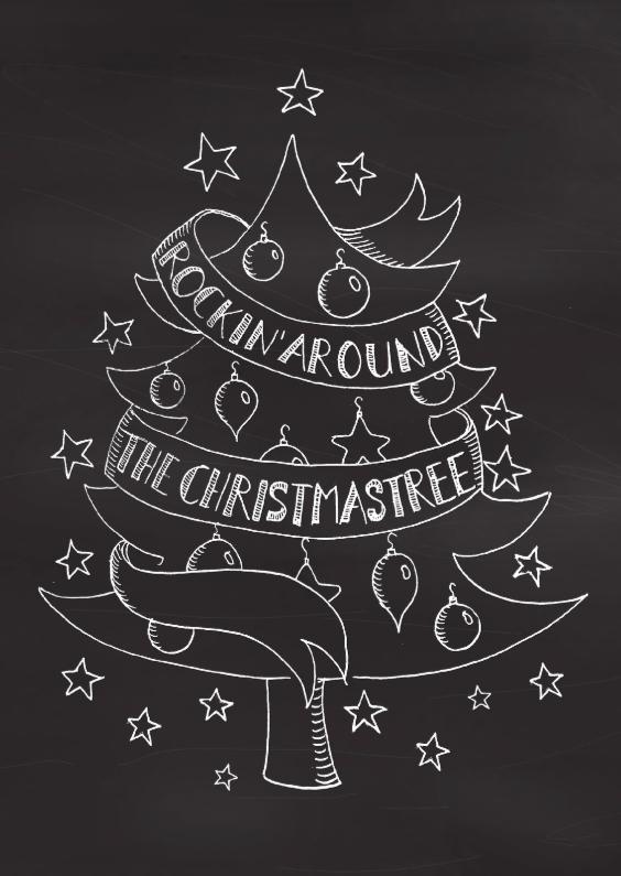 Kerstkaarten - Kerstkaart rockin' handlettering