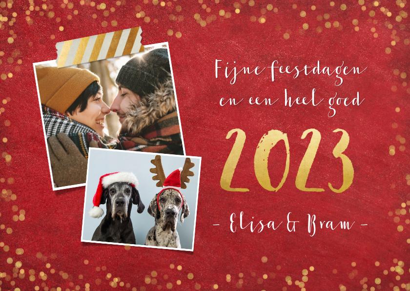 Kerstkaarten - Kerstkaart rode achtergrond met gouden confetti en 2 foto's