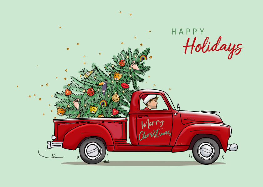 Kerstkaarten - Kerstkaart rode Amerikaanse pickup