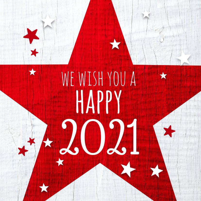 Kerstkaarten - Kerstkaart rode ster 2021