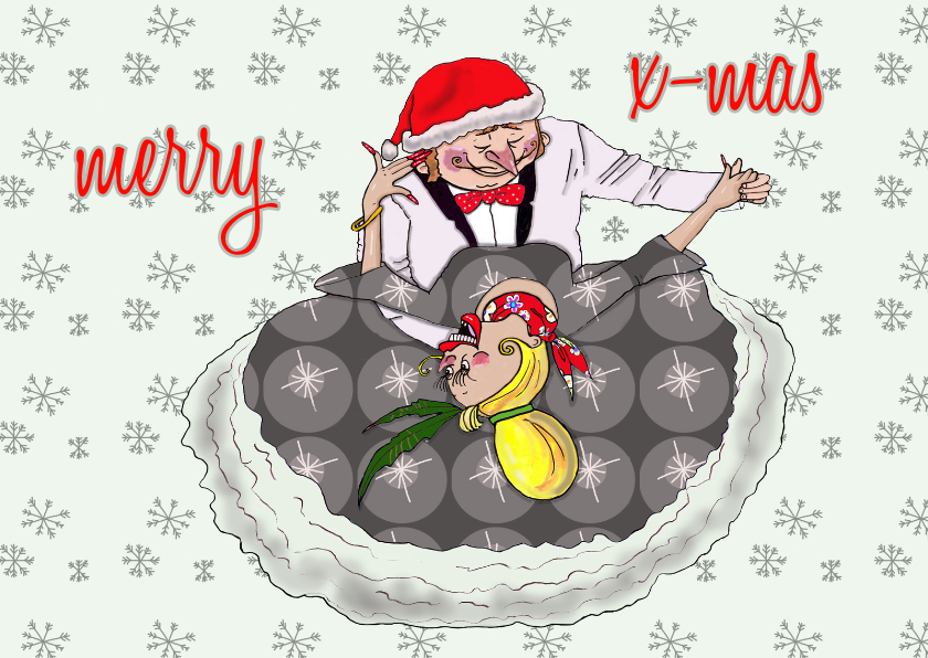 Kerstkaarten - Kerstkaart romantisch danskoppel