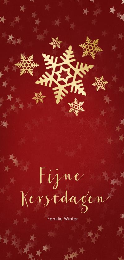 Kerstkaarten - Kerstkaart rood langwerpig sneeuwvlok - Een gouden kerst