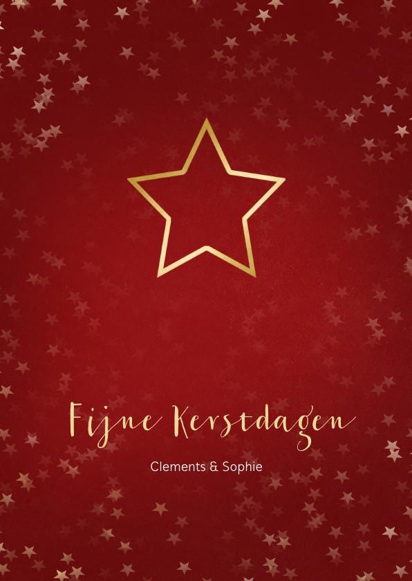 Kerstkaarten - Kerstkaart rood met kerstster van goud - Een gouden kerst