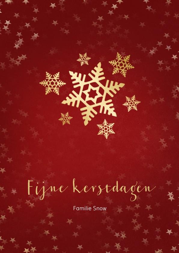 Kerstkaarten - Kerstkaart rood met sneeuwvlok van goud - een gouden kerst