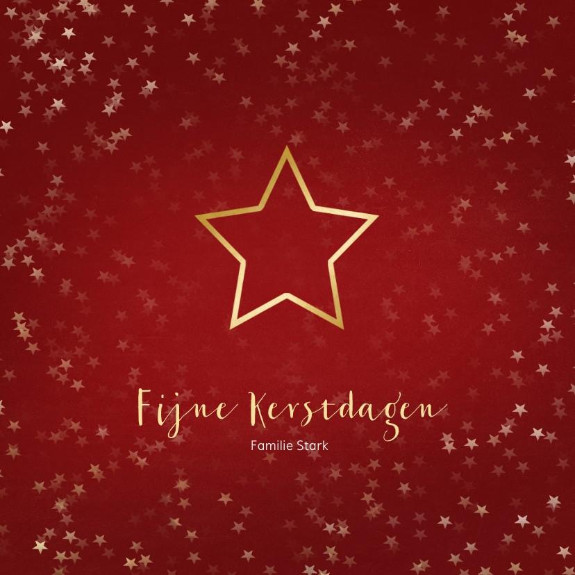 Kerstkaarten - Kerstkaart rood met ster van goud - Een gouden kerst