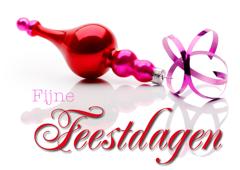 Kerstkaarten - Kerstkaart rood roze kerstbal - Fijne Feestdagen