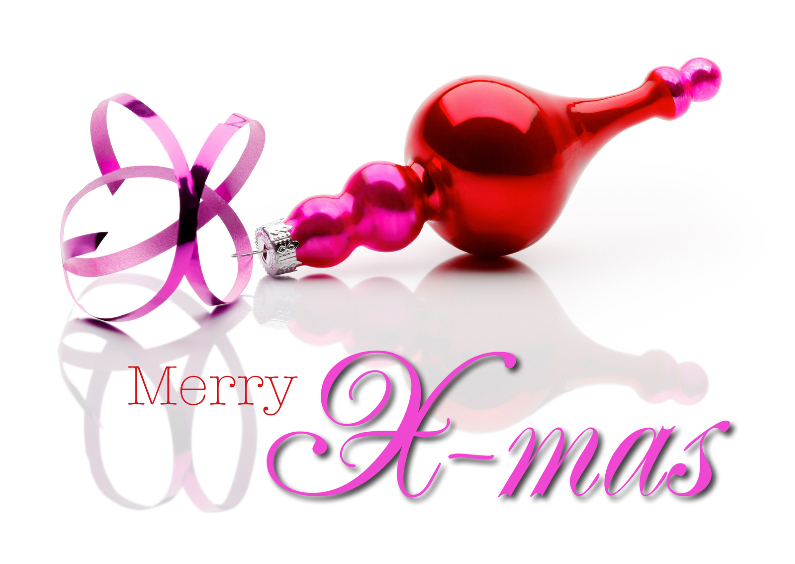 Kerstkaarten - Kerstkaart rood roze - Merry X-Mas - OT